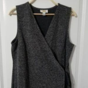 Talbots Sleeveless Mottled Tweed Maxi Wrap Dress